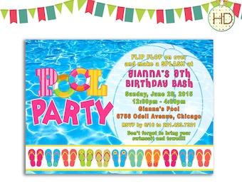 Pool Party Invitation, Flip Flop Invitation, Pool Birthday Invitations, Summer Pool Party