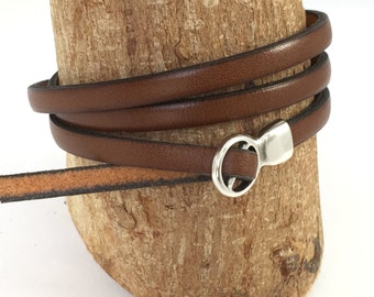 Tan Triple Wrap Leather Bracelet with Fold Over Clasp Leather Bangle, Unisex Leather Bracelet, Women's Leather Bracelet,Tan and Silver