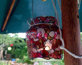 Handpainted Candle Lantern for Garden & Christmas