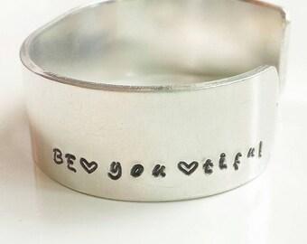 Metal stamp bracelet Be*you*tiful