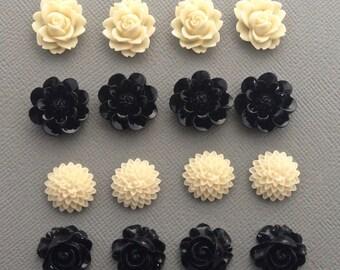 16 pcs resin cabochon flowers ,assorted sizes,#FL105