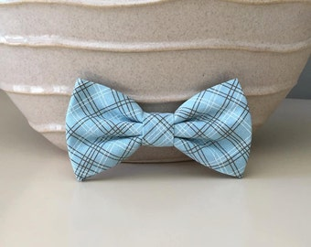 Dog Bow / Bow Tie - Baby Blue w Brown and White Pin Stripes