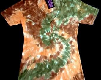 Earth Tone Spiral V Neck Jr., Tie Dye Shirt 7 oz