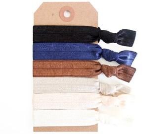 NEUTRALS Elastic Hair Ties, Ponytail Holders, Stretchy Ribbon Hair Ties, Elastic Hair Accessories, Yoga Hair Ties, Boho