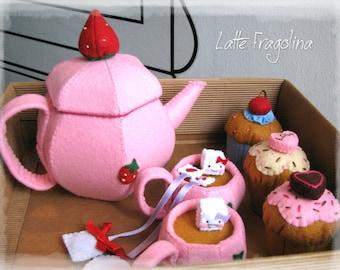 Tea set felt toys - Felt food toys for children,tea pot and cups removable tea