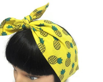 Retro hair wrap, rockabilly hair scarf, pin up hair scarf, hair accessory, Pineapple print