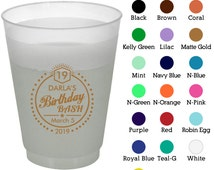 16 oz Party Favor Frosted Cups (Clipart 19005) Bash - 19th Birthday - Birthday Favors - Birthday Cups - Plastic Party Cups - Party Cups