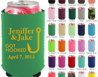 Custom Neoprene Can Coolers (1430) Got Hooked - Beer Can Coolers - Personalized Can Cooler - Wedding Favors
