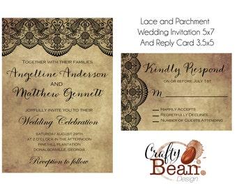 Custom Black Lace and Parchment Wedding Invitation DIY Printable