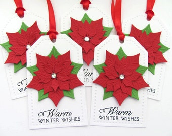 Poinsettia Christmas Gift Tags, Christmas Tags, Christmas Favor Tags, Christmas Hang Tags, Holiday Gift Tags, Poinsettia  Gift Tags