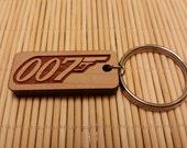 007 James Bond Keychain, Laser Engraved, Cherry Wood