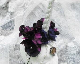 Unicorn Horn, Unicorn Headdress, Unicorn Headpiece, Unicorn Horn, Purple, Flower Headdress, Unicorn Costume, Horn Headdress, Burlesque