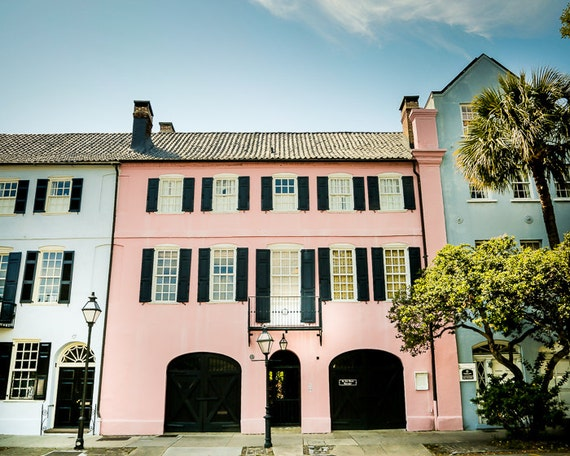 Charleston art rainbow row row house fine art by for Charleston row houses