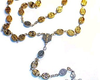 special rosary  necklace with gold and silver plated mary and jerusalem cross icons