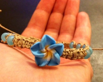 Flower Macrame Hemp Bracelet, Natural Hemp Jewelry, Adjustable Bracelet, Flower Charm