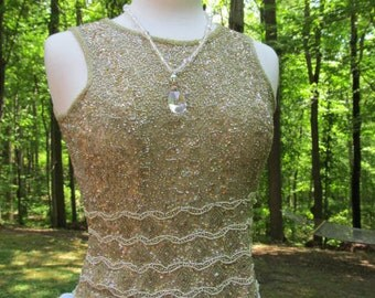 Sale - Sale -Beautiful Vintage Gold Beaded Top (Gorgeous)