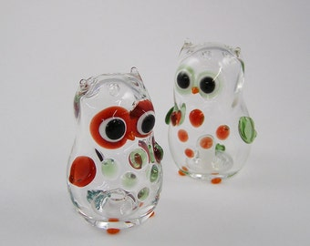 Hand Blown Glass Owl Salt and Pepper Shakers