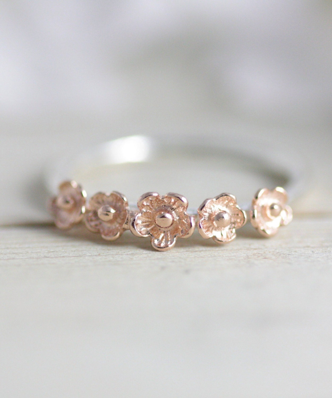 Sakura ring rose gold flower ring rose gold jewelry flower