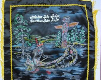black satin kitsch cushion cover / Souvenir of Canada / hand painted / Japan