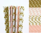 Light Pink and Gold Paper Straw Mix-Light Pink Straws-Gold Straws-Polka Dot Straws-Star Straws-Wedding Straws-Mason Jar Straws-Party Straws
