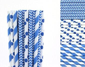 Bright Blue Paper Straw Mix-Blue Straws-Chevron Straws-Striped Straws-Polka Dot Straws-Party Straws-Mason Jar Straws-Cake Pop Sticks