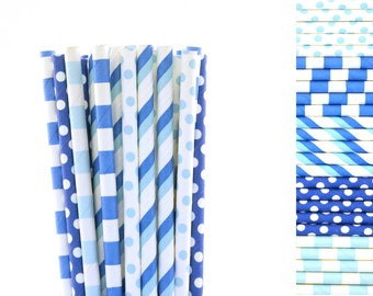 Light and Dark Blue Paper Straw Mix-Striped Straws-Blue Straws-Polka Dot Straws-Police Party Straws-Boy Baby Shower-Sleepover Party Straws