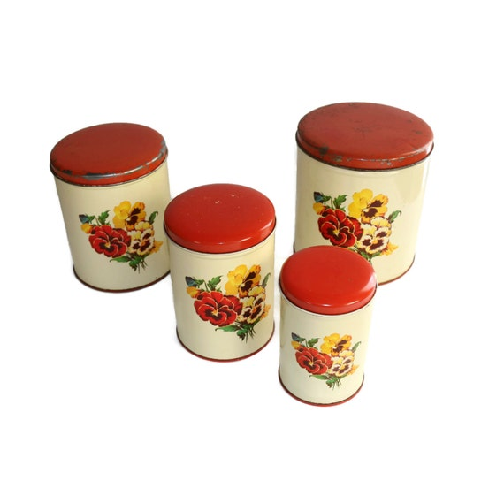 Vintage Kitchen Canisters: Vintage Kitchen Canister Set Of 4 Parmeco Red And White