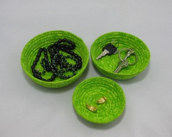 Hand Coiled Fabric Bowls, Fabric Baskets