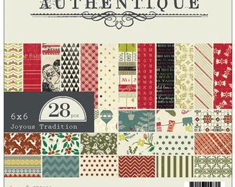 """AUTHENTIQUE Joyous Tradition Collection, Paper Crafting Kit, 28 sheets, 6"""" X 6"""" paper pad, Christmas/holiday crafts"""