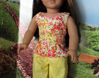 18 Inch Doll Outfits, Girl Doll Clothes, Orange/Pink Floral Peplum Top, Yellow Shorts, fits 18 inch dolls such as American girl dolls