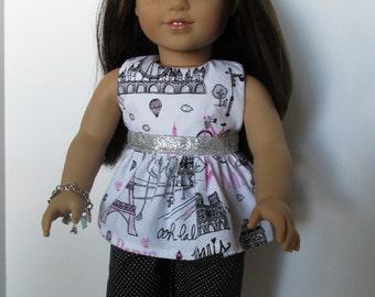 Parisian Print Ruffled Top, Black Dotted Capri Pants for 18 inch dolls