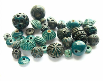 Stoneware Beads * Ceramic beads * Bead Set of 35 pieces * Glass Glazed Beads * Turquoise Beads *  Blue-Green Beads * Handmade Bead Jewelry