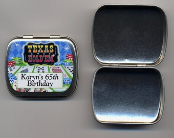 6 Poker Texas holdem party favor mint tins unfilled with personalized stickers