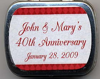6 40th Anniversary party favor mint tins unfilled with personalized stickers