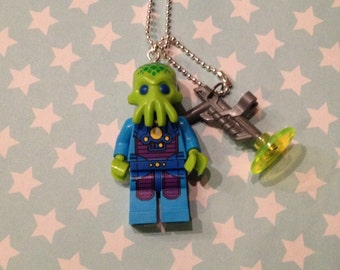 Lego alien trooper necklace with a 1.5mm silver ballchain geek minifigure