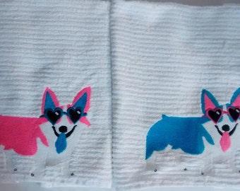2 Corgi Towels: Pink & Blue