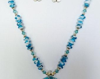 Aqua Blue necklace with Aqua blue flower pendent