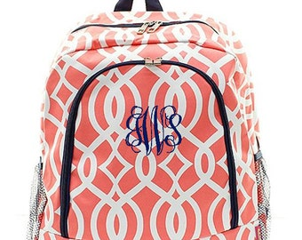 Personalized Backpack Monogrammed Bookbag Coral Navy Blue Ivy Moroccan Trellis Large Canvas Kids Tote School Bag Embroidered Monogram Name