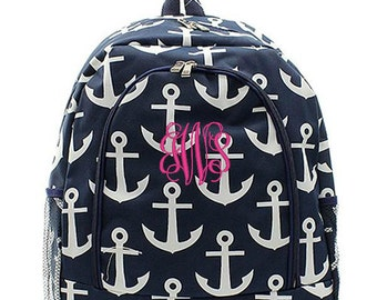 Personalized Backpack Monogrammed Bookbag Anchor Navy Blue White Nautical Girls Large Canvas Kids Tote School Bag Embroidered Monogram Name