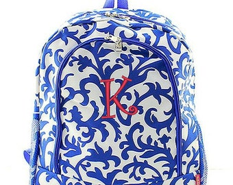 Personalized Backpack Monogrammed Bookbag Damask Floral Royal Blue Parisian Girl Large Canvas Kids Tote School Bag Embroidered Monogram Name