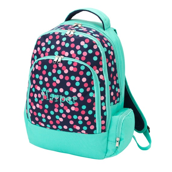 Personalized Polka Dot Backpack Confetti Mint Green Pink