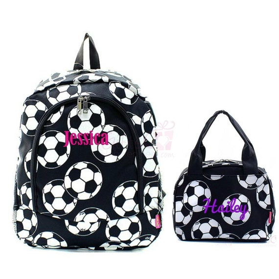 Personalized Soccer Backpack Matching Lunch Box Bag Set Black