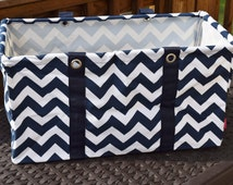Large Chevron Utility Tote Collapsible Tote Navy And White With Free Embroidery Graduation
