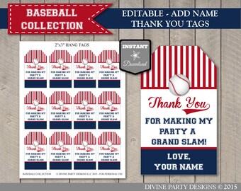 INSTANT DOWNLOAD Baseball Thank You Hang Tags / Editable - Add your name / Printable DIY / Baseball Collection / Item #904