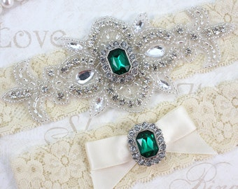 Best Seller - MADRID - Green Emerald Wedding Garter Set, Wedding Lace Garter, Rhinestone Bridal Garters