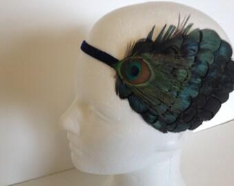 Saint Patricks Day Headband Feather, GREEN 1920s Headpiece, St. Patricks day green fascinator, Green Feather Black Ostrich Silver Beading