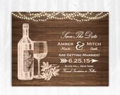 Winery Save The Date Magnet or Card DIY PRINTABLE Digital File or Print (extra) Vineyard Save The Date Wine Save The Date Wood