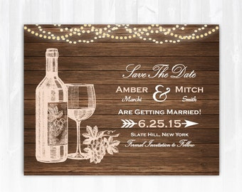 Winery Save The Date Magnet or Card DIY PRINTABLE Digital File or Print (extra) Vineyard Save The Date Wine Save The Date Wood