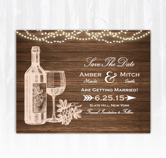 Winery save the date magnet or card diy printable digital file for Diy save the date magnets template