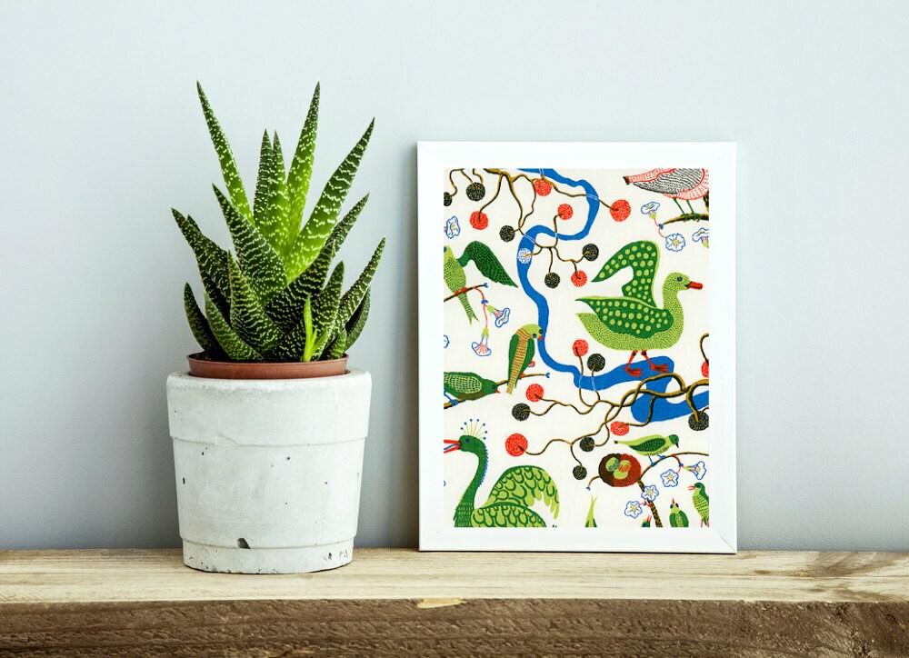 josef frank green birds fabric wall art / wall, Home designs